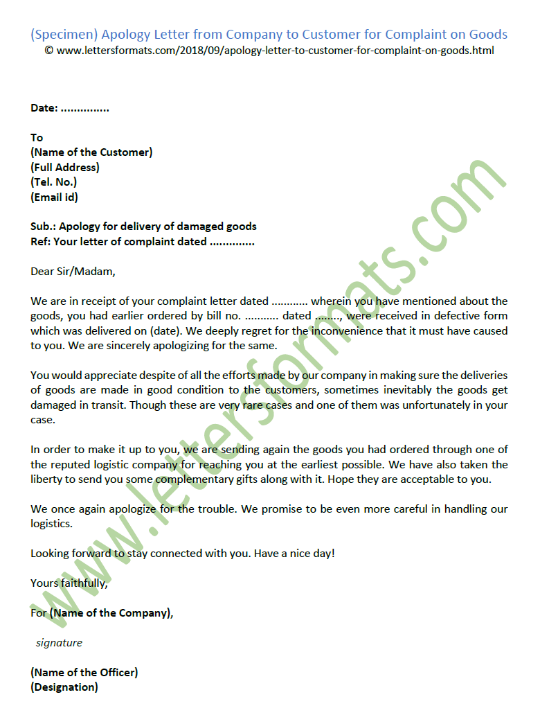 Apology Letters To Customer | Apology Letter From Company To Customer For Complaint On Goods