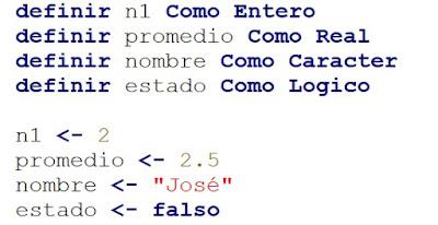 Como declarar variables en PSeInt