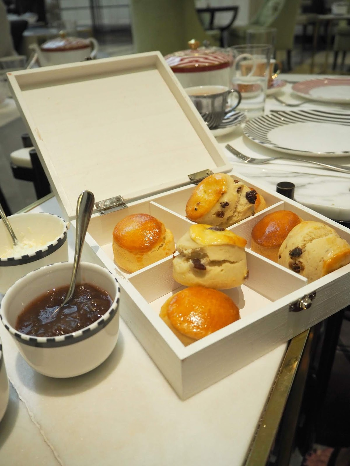 Scones served at The Corinthia London