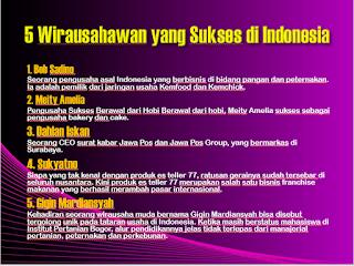 Wirausahawan yang Sukses di Indonesia