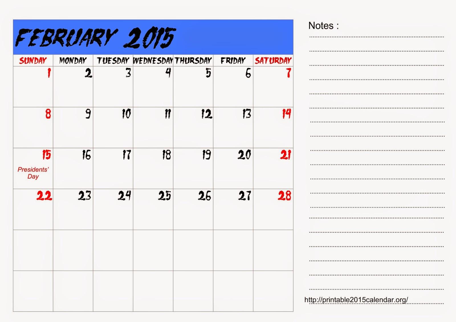 Calendar Template February 2015 Kubreforic