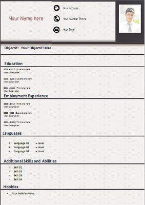 Modèle CV gratuit format word - Jaune et 5 cases | Page de Garde
