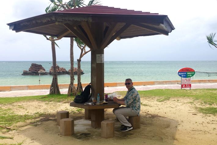 Araha beach picnic tables