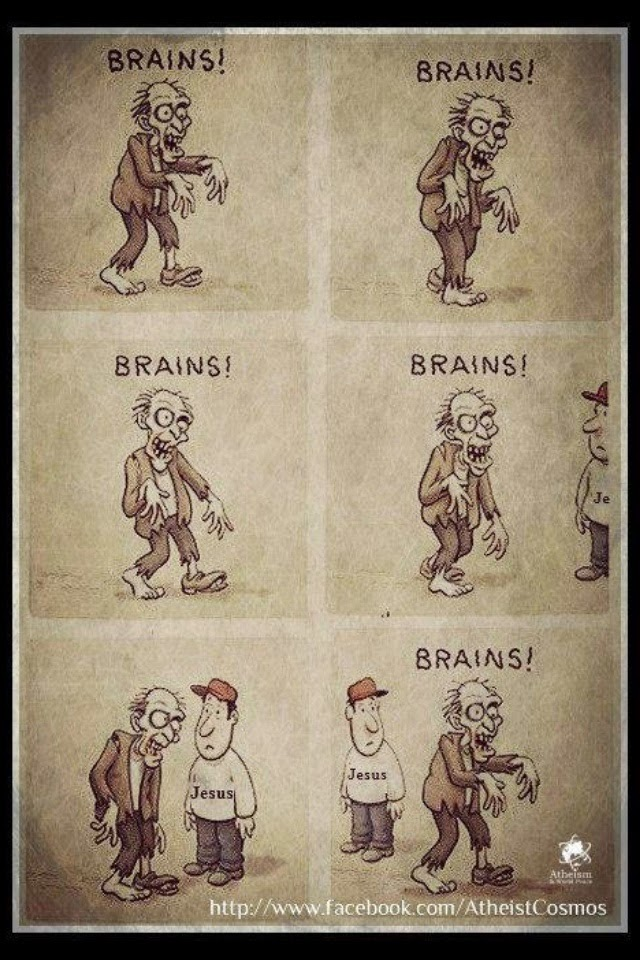 Funny Zombie Christian Brains Cartoon Religious Joke Picture