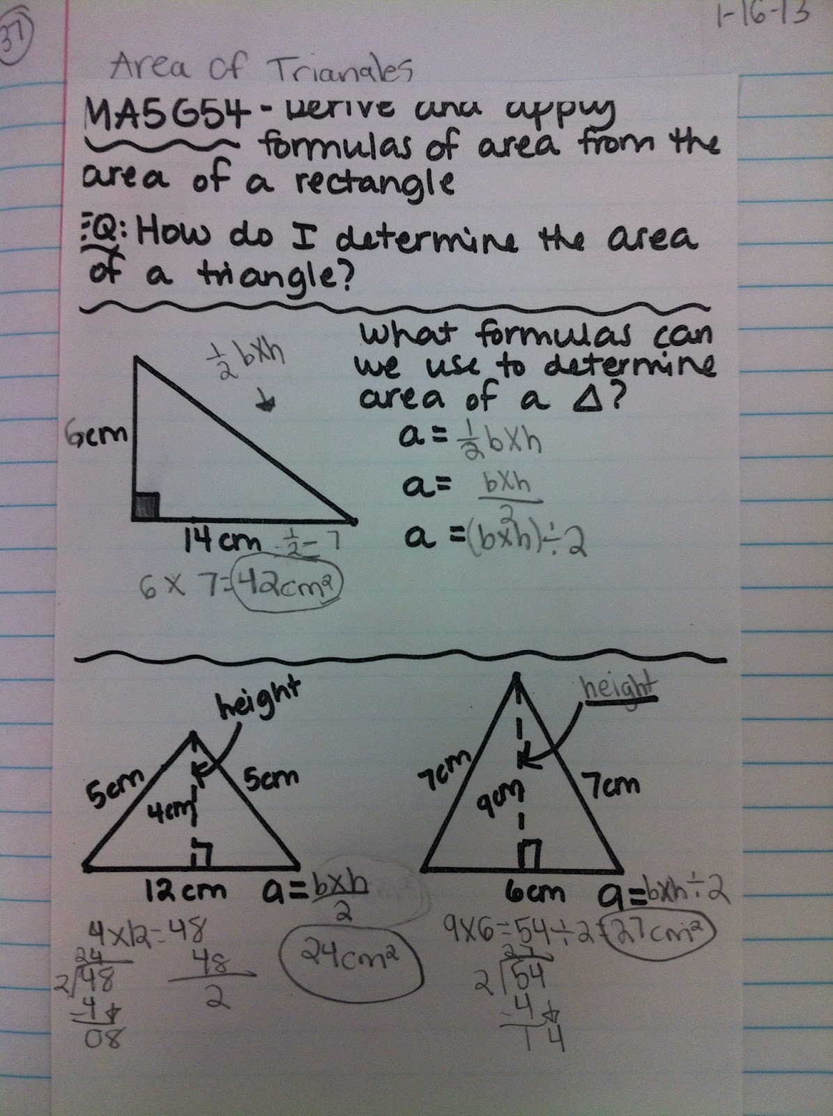 Mrs Thomas 5th Grade Class Journal Entry Area Of Triangles