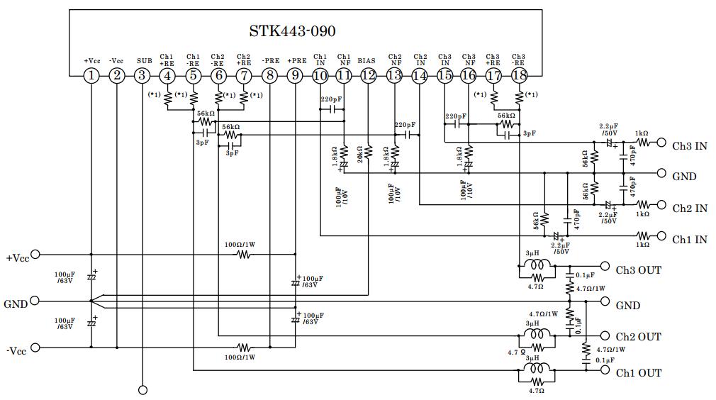 amplifiercircuits.com: stk443-090 circuit diagram 3000w audio amplifier sony car audio amplifier wiring diagrams