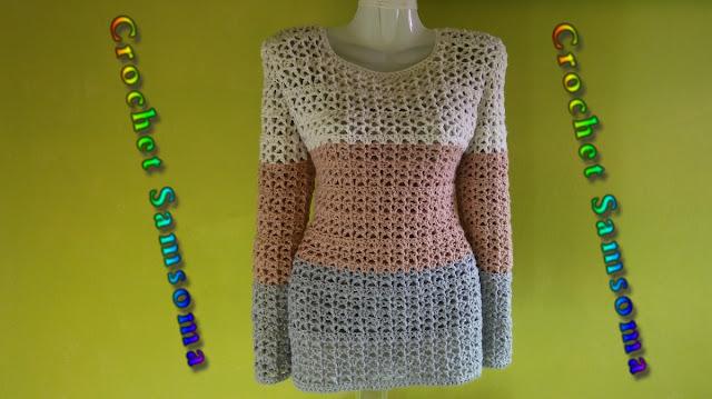 كروشيه بلوفر نسائي . Crochet pullover . كروشيه كنزة . كروشيه بلوزة شتوية .   كروشيه بلوزة لاي مقاس