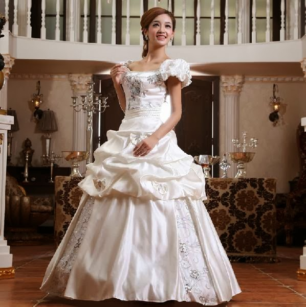 Princess Puff Sleeve Floor Length Ball Gown Wedding Dress
