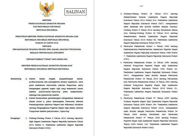 Peraturan Menteri Pendayagunaan Aparatur Negara dan Reformasi Birokrasi (PANRB) No. 26/2016 tentang Pengangkatan PNS dalam Jabatan Fungsional Melalui Penyesuaian (Inpassing)