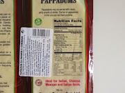 Pappadums: Informação nutricional