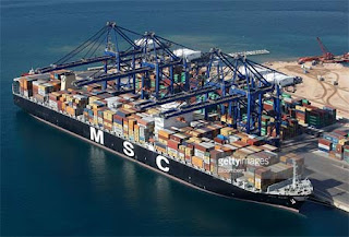 MSC Container Vessel conducting Loading Operation on Port