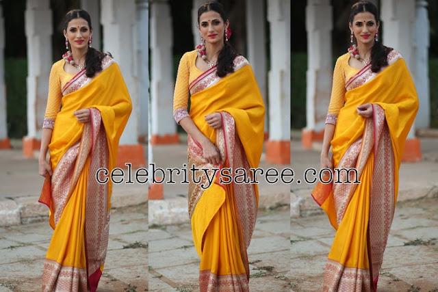 Shilpa Reddy yellow Silk Saree