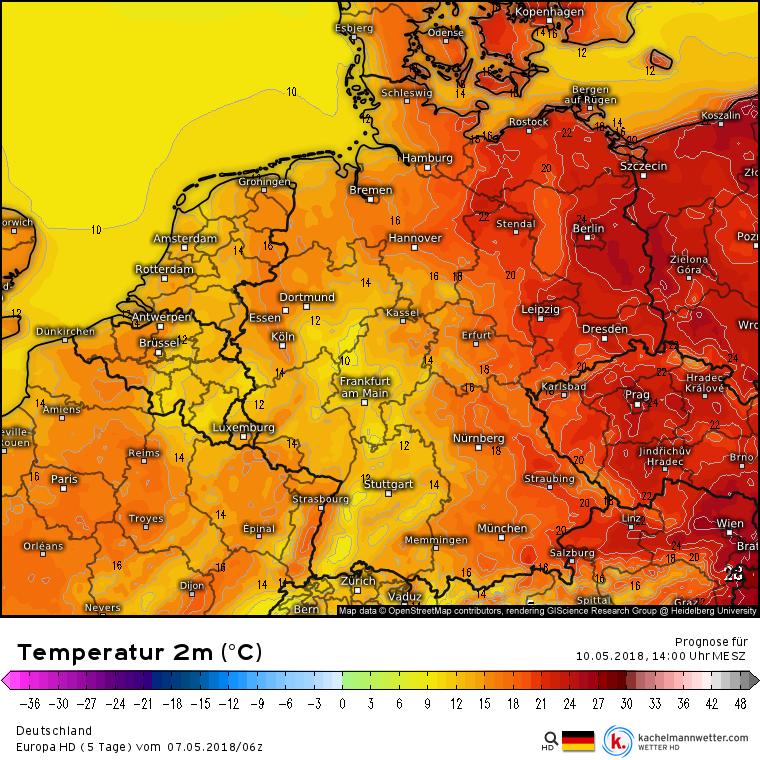 Temperatur 2 m Vatertag 2018, 14 Uhr MESZ, Euro HD, kachelmannwetter.com