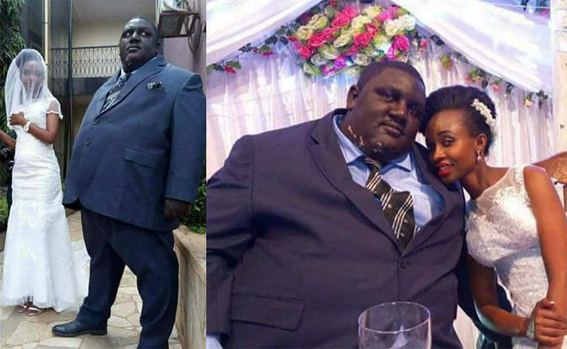 """See pics: Ada Ogbonna comes for people mocking """"hefty man and slim bride"""""""