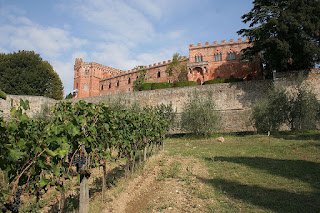 Vines fill most of the slopes surrounding the ancient Ricasoli family seat at Castello di Brolio in Tuscany