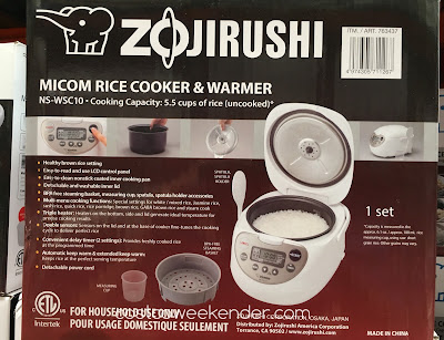Costco 763437 - Special settings for white/mixed rice, Jasmine rice, sushi rice, quick rice, rice porridge, brown rice, GABA brown rice and steam cook