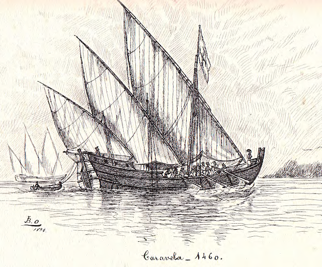 A 19th century depiction of a caravel from the 15th century