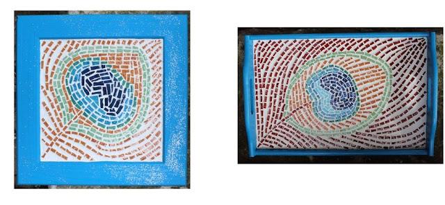 plateau paon en mosaïque