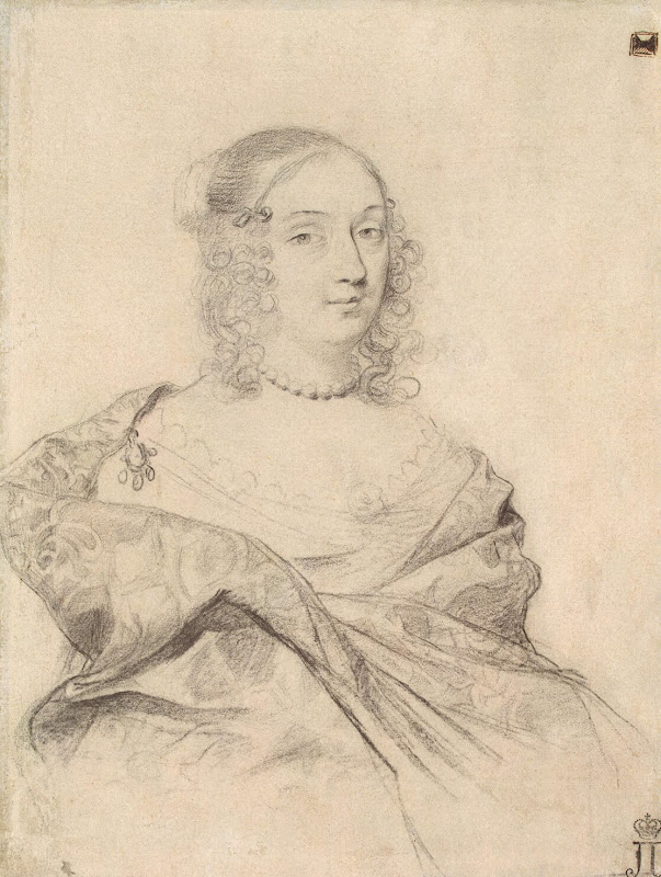 Portrait of Louise-Marie de Gonzague by Claude Mellan - Portrait Drawings from Hermitage Museum