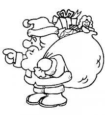 Dibujo de papá Noel con un saco de regalos en la espalda