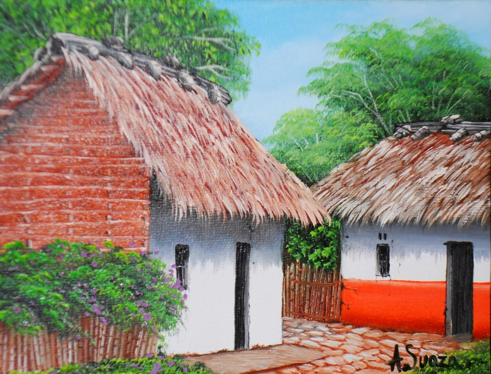 Cuadros modernos pinturas y dibujos pinturas de paisajes - Paisajes de casas de campo ...