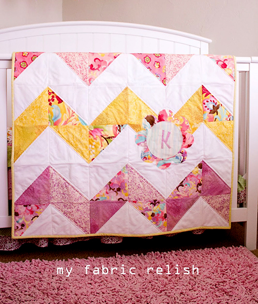 Reversible Chevron Baby Quilt Free Pattern designed by Melissa from myfabricrelish