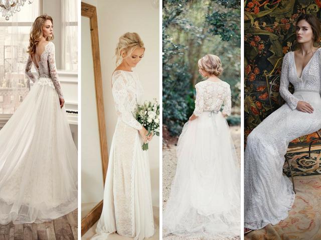 Vestidos de noiva de manga comprida