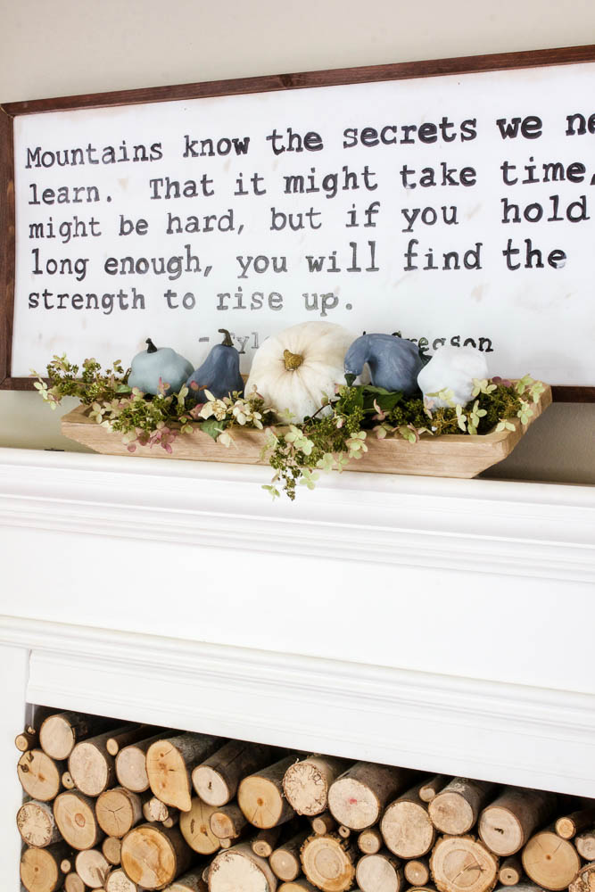 DIY painted sign in dining room with dough bowl with neutral pumpkins and hydrangeas