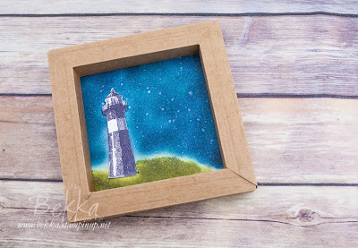 Nighttime Lighthouse Box Frame made with Stampin' Up! UK Supplies