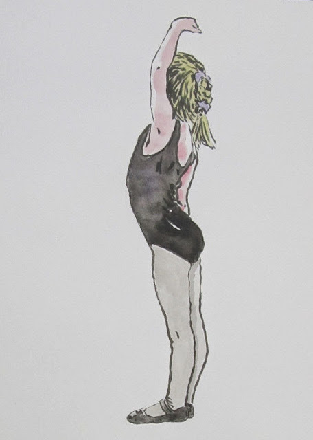 Elise Campello - Sonoma Ballet Conservatory 1992 Watercolor by F. Lennox Campello
