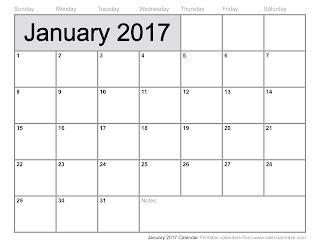 Free Printable Calendar January 2017