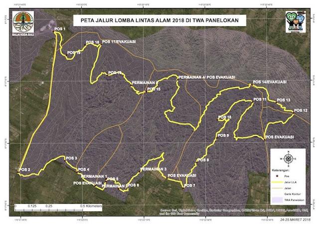 Peta Jalur Lomba Lintas Alam 2018 Di TWA Penelokan - BKSDA Bali