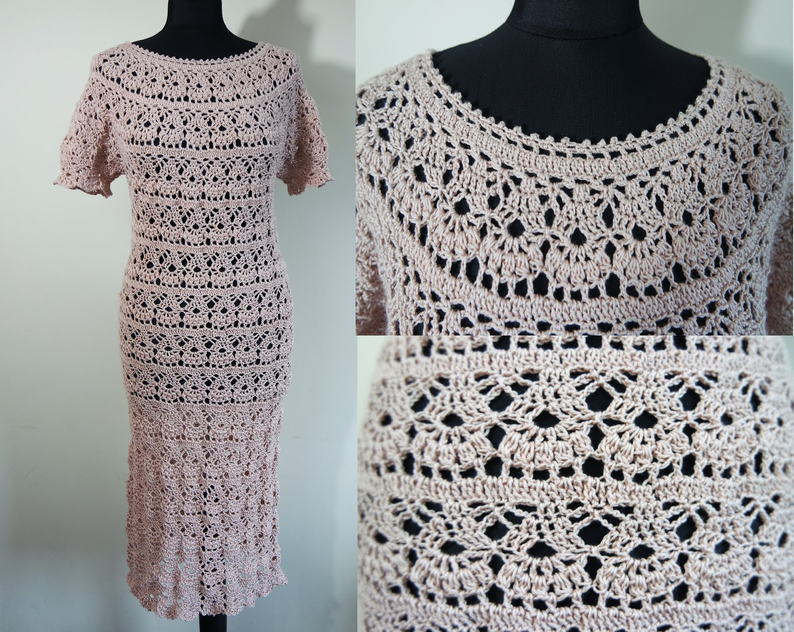 crochet beige dress all sizes pattern