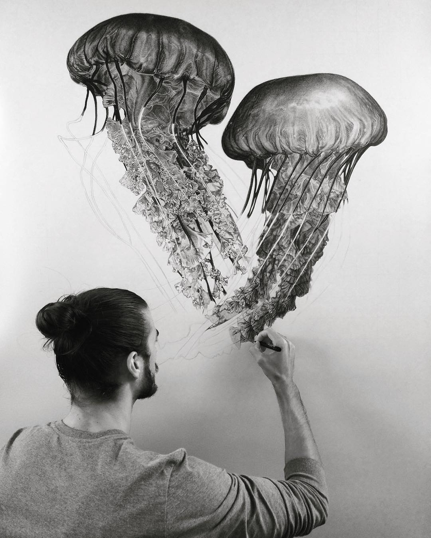 03-Jellyfish-Pocket-Watch-Graphite-Charcoal-Pen-and-Ink-drawings-www-designstack-co