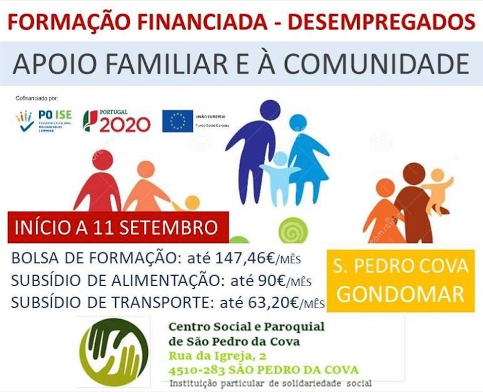 formação financiada para desempregados em Gondomar