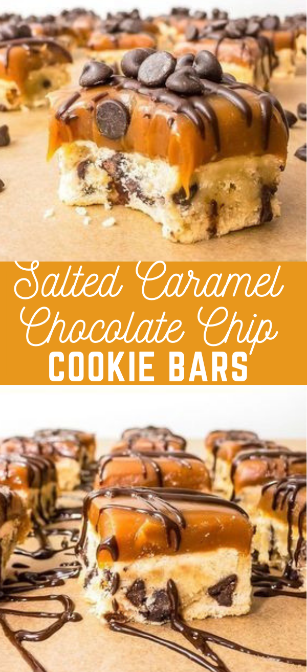 Salted Caramel Chocolate Chip Cookie Bars #cookies #cakes
