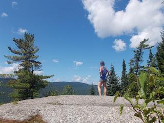 Paysage, parc du mont Tremblant, randonneuse, silhouette