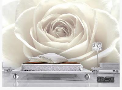black and white 3D rose wallpaper designs for living room walls
