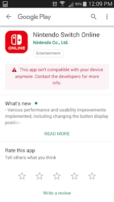 Nintendo Switch Online Google Play app isn't compatible with your device anymore