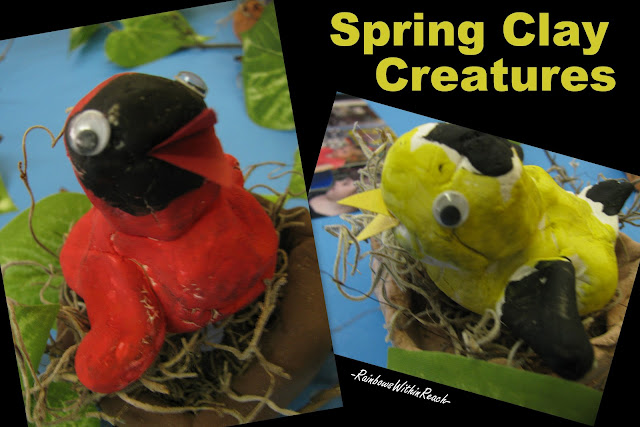 preschool art, clay bird, early childhood, spring projects for children