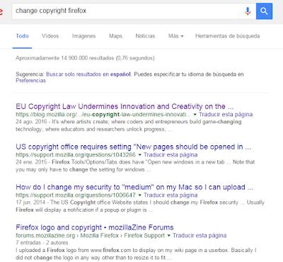 busqueda Google change copyrigth firefox
