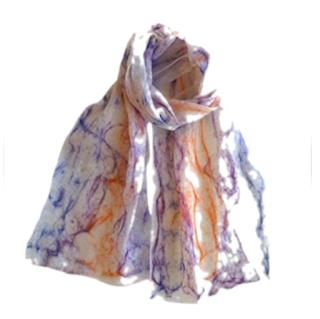Purple and hot orange Merino Scarf by Mimi Pinto on Amazon UK