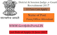Office of the District Judge e-Courts Recruitment 2017– 42 Peon /Office Attendant