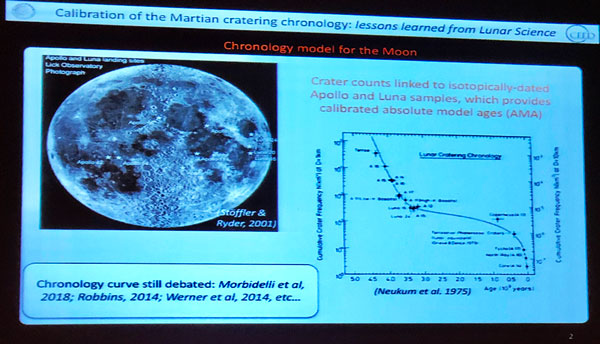 Using studies of craters on Moon and Mars to estimate age of geologic formations (Source: B. Butel+/NASA Mars 2020 Workshop)