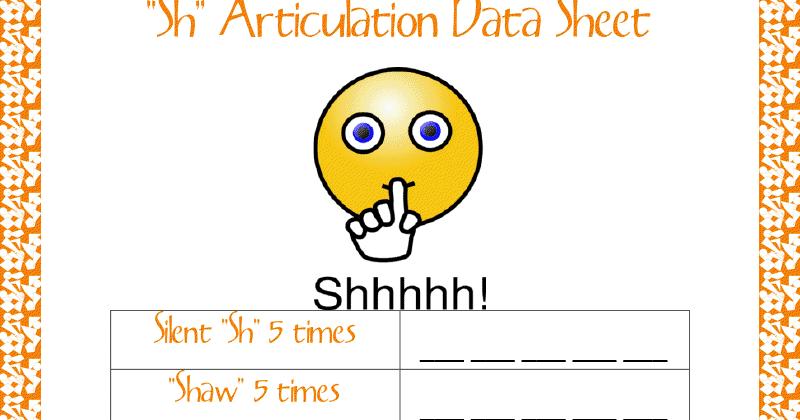 """Ms. Lane's SLP Materials: Articulation: """"Sh"""" Data Sheet"""