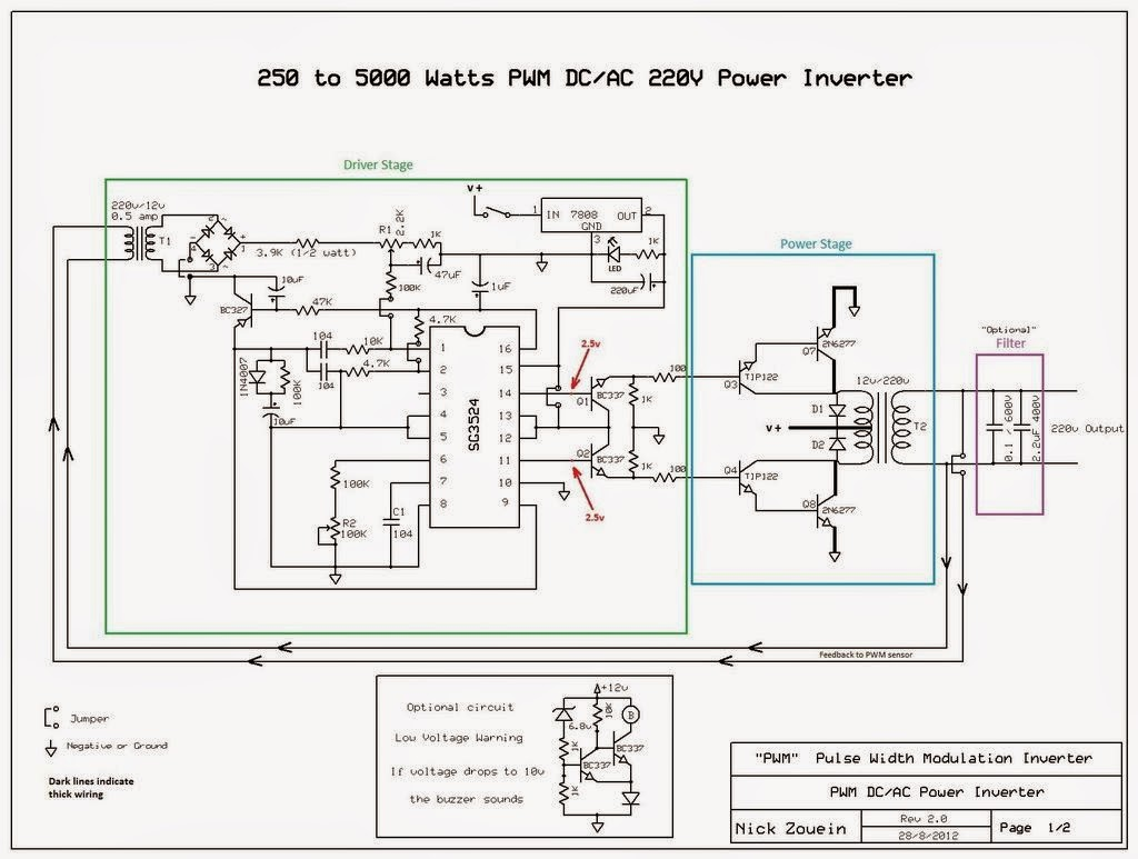 250 to 5000 watts PWM DCAC 220V Power Inverter  Gallery Of Electronic Circuit Diagram Free