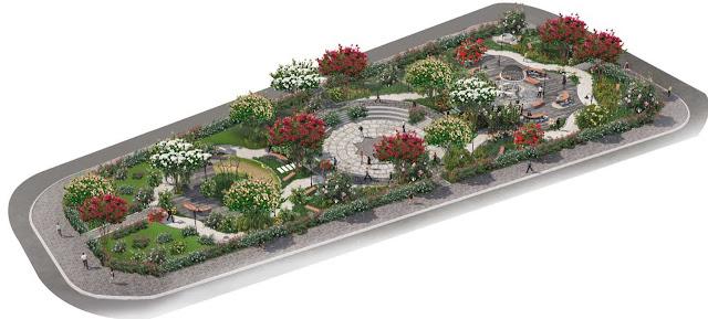 Phối cảnh công viên quảng trường hoa hồng tại The Eden Rose
