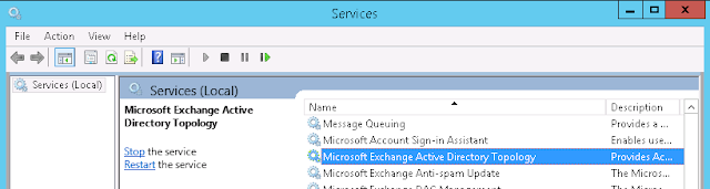 Topology Provider coundn't find the Microsoft Exchange Active Directory Topology service on end point 'TopologyClientTcpEndpoint
