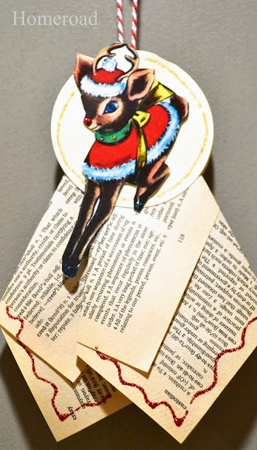 Holiday recycled Rudolph book ornament
