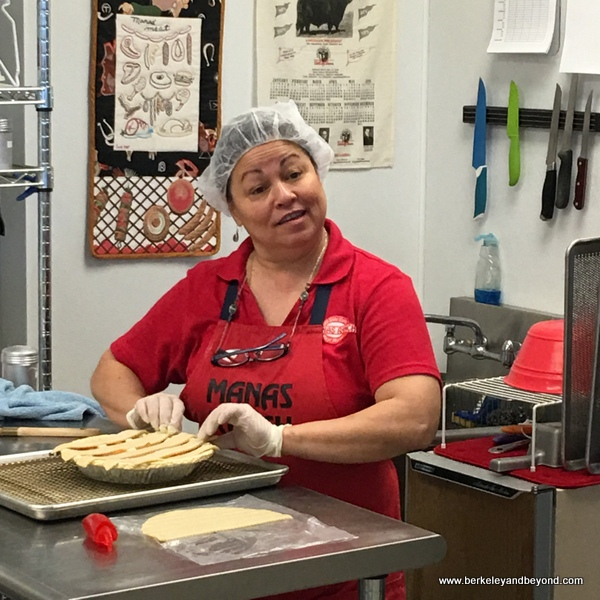 Laura makes an aprictor pie at Manas Ranch Meat Market in Esparto, Capay Valley, California